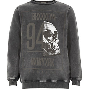 Boys grey acid wash skull sweatshirt