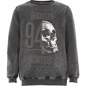Boys grey acid wash skull sweatshirt