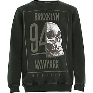 Boys green acid wash skull sweatshirt