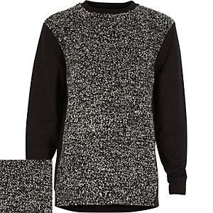 Boys grey boucle front sweatshirt