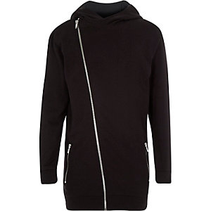 Boys black asymmetric hooded jumper