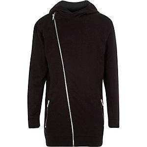 Boys black asymmetric hooded jumper