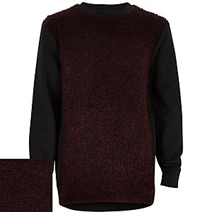 Boys red boucle front jumper