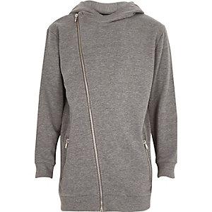 Boys grey asymmetric zip hoodie