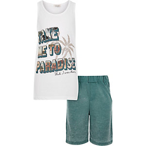 Boys white paradise tank and shorts outfit