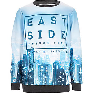 Boys blue scuba print sweatshirt