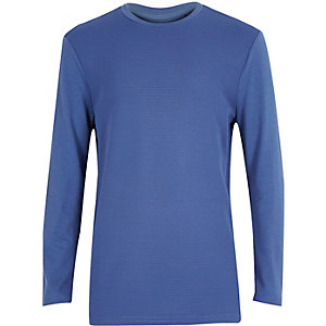 Boys blue ribbed long sleeve top
