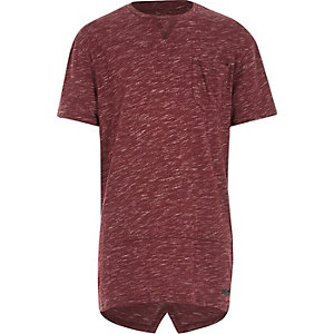 Boys red marl split back t-shirt