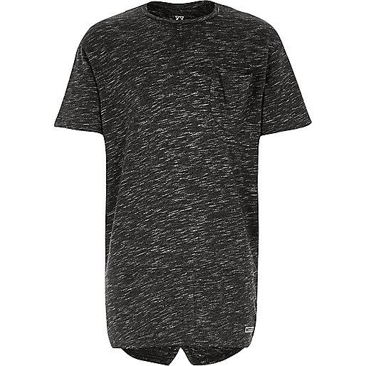 Grau meliertes T-Shirt mit Schlitz hinten