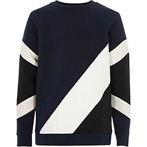Boys navy colour block sweatshirt