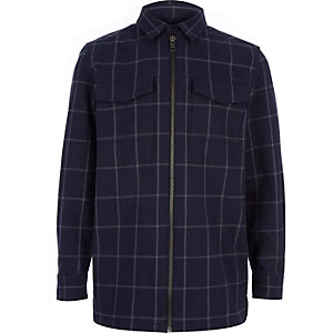 Boys blue check zip-up shirt jacket