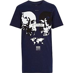 Boys navy skull print t-shirt