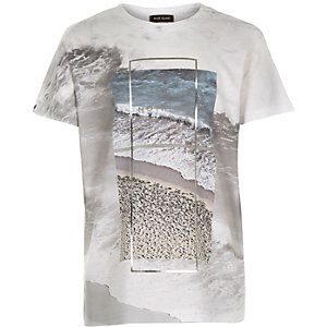 Boys white foil print t-shirt