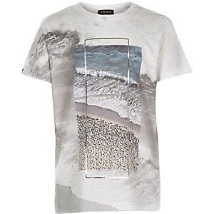 Boys white foil print t-shirt