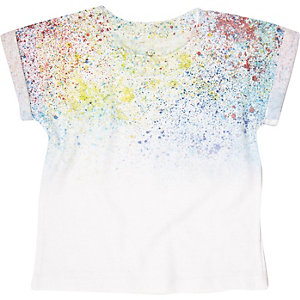 Mini boys white paint splatter t-shirt