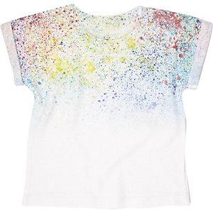 Mini boys white paint splatter t-shirt