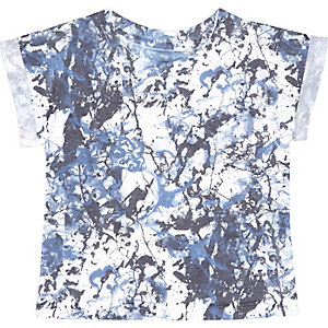 Mini boys blue paint splash t-shirt