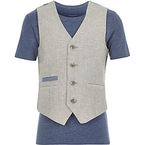 Boys ecru waistcoat and t-shirt set