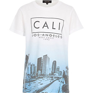 Boys white Cali print t-shirt