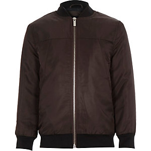 Boys brown nylon bomber jacket