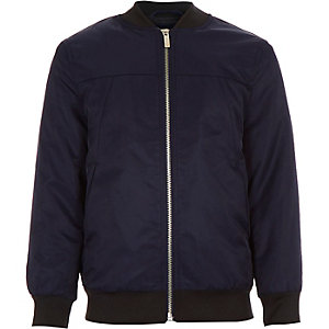 Boys navy nylon bomber jacket
