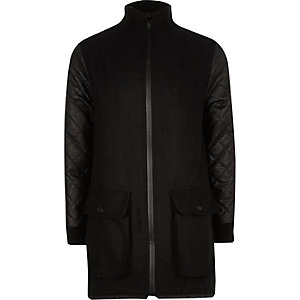 Boys black textured sleeve jacket