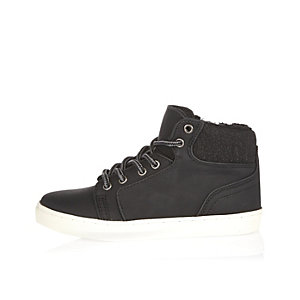Boys black lace-up boots