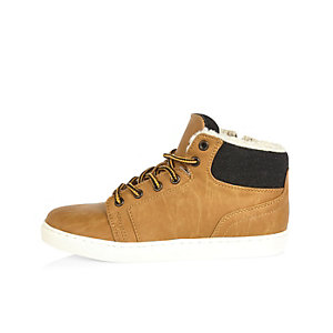 Boys stone lace-up boots