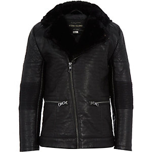 Boys black leather-look biker jacket