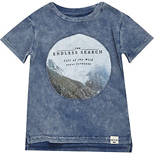 Mini boys blue acid wash t-shirt