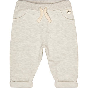 Mini girls beige marl joggers