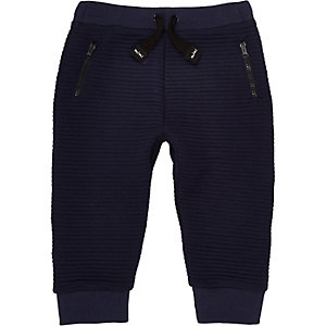 Mini boys textured ribbed joggers