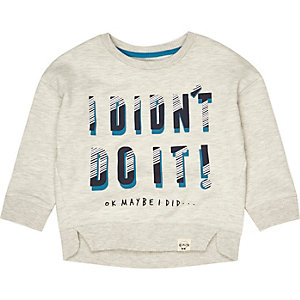 Mini boys beige slogan sweatshirt