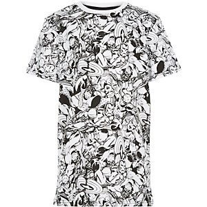Boys white Marvel hero print t-shirt