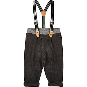 Mini boys grey dogtooth braces trousers