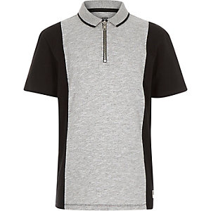 Boys black blocked short sleeve polo shirt