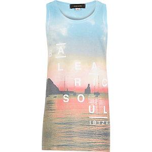 Boys white Ibiza beach print tank
