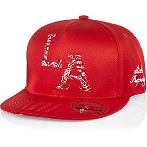 Boys red LA snapback hat