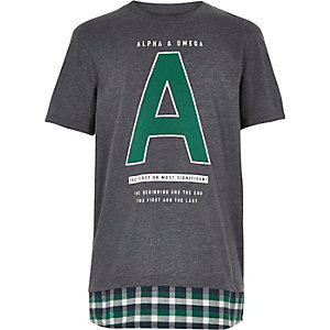 Boys grey check hem t-shirt