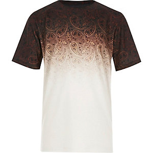 Boys ecru faded paisley t-shirt