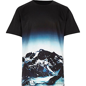 Boys black mountain print t-shirt