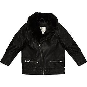Mini boys black leather-look biker jacket