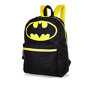 Boys black Batman hooded backpack