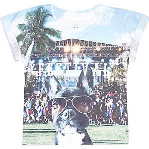 Mini boys blue dog festival print t-shirt