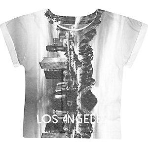 Mini boys white city print t-shirt