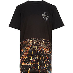 Boys black Las Vegas print t-shirt