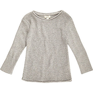 Mini boys grey plaited sweater