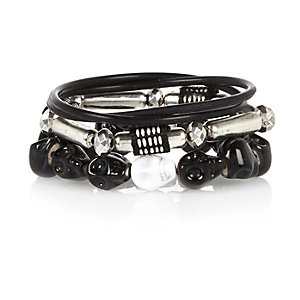 Boys black skull bracelets pack