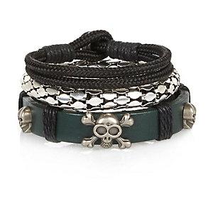 Boys khaki skull bracelets pack