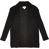 Mini boys black mesh knitted cardigan